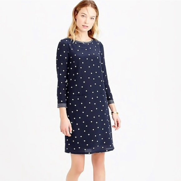 J. Crew Dresses & Skirts - J Crew polka dotted silk shift dress